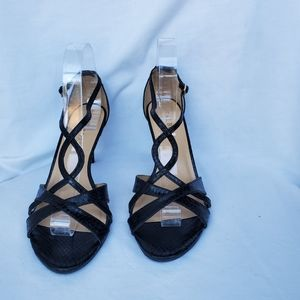 Talbots Black Snake Embossed Leather Heels size 9M